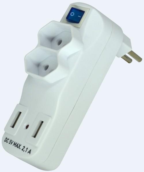 Adaptador Múltiplo c/ Chave 2 Tomadas 10A 250V + 2 USB Carregador 2,1A