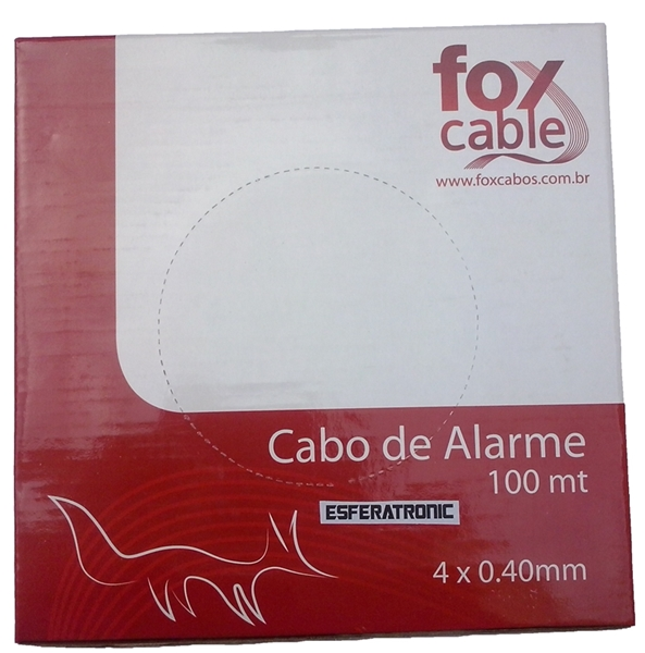 Cabo Alarme Interfone Telefone Branco 4 Vias 0,40mm c/100 metros - Fox Cable