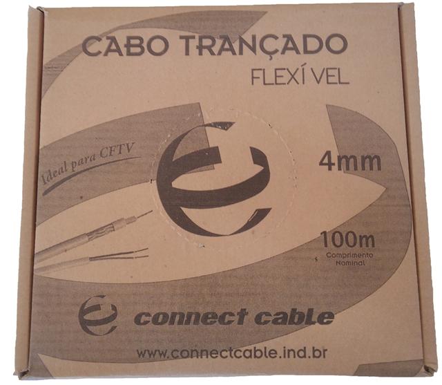 Cabo Coaxial 4mm Flexível 80% malha + Bipolar 100 metros