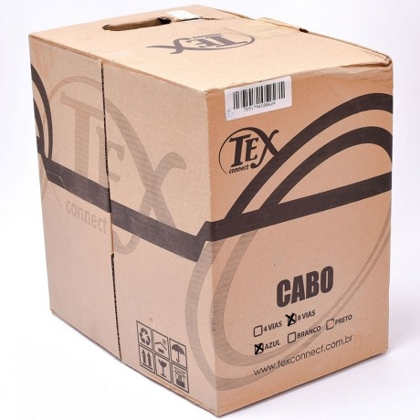 Cabo De Rede Lan Cat5e 8 vias Azul 305 Metros Tex Connect