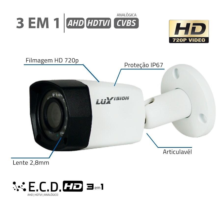 Câmera Infra Bullet ECD 3 em 1 de 1MP HD 720P ip67 Luxvision