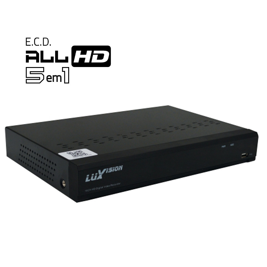DVR Stand Alone All HD 5 x 1 Luxvision ECD 16 Canais - AHD/ HDTVI / HDCVI / IP / Analógico
