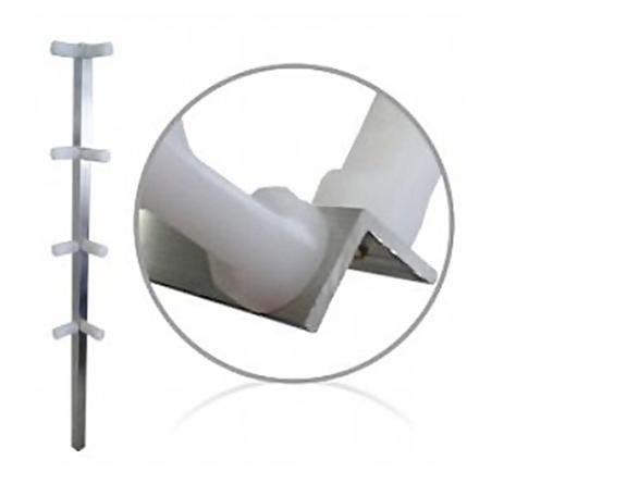 Haste cantoneira de alumínio com 8 isoladores para cerca elétrica - Confiseg