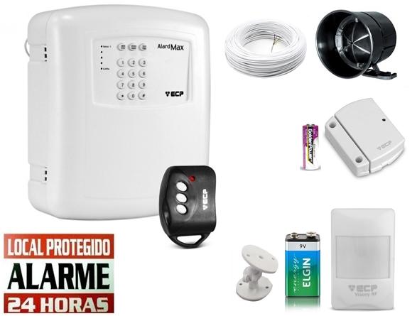 Kit alarme residencial Alard max 1 c/ discadora + 1 sensor infra s/ fio + 1 sensor magnético s/ fio - Marca ECP