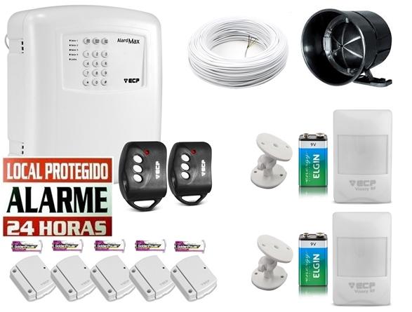 Kit alarme residencial Alard max 4 c/ discadora + 2 sensor infra s/ fio + 5 sensor magnético s/ fio - Marca ECP