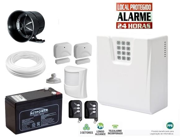 Kit alarme residencial/comercial CLS 1400 c/ discadora + 3 sensores s/ fio + bateria 12v 7ah - Sulton