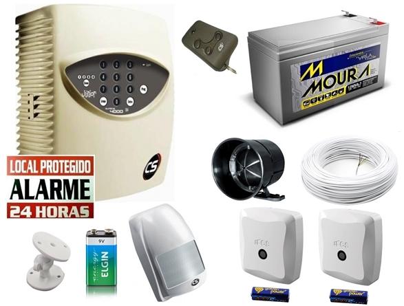 Kit alarme residencial supéria jr c/ discadora + 1 sensor infra s/ fio + 2 sensores magnético s/ fio + bateria 12v 7ah - Marca CS