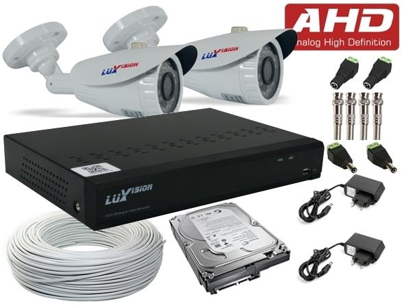 Kit Câmeras de Segurança AHD Completo c/ DVR AHD ECD Full HD de 8Ch. Luxvision + 2 Câmeras Infra AHD Bullet e HD de 1 TB + Cabo, Fonte e Conectores + Brinde