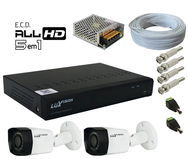 Kit DVR HVR All HD ECD 8 canais Luxvision + 2 Câmeras Bullet Infra AHD 720p com Cabo, Fonte e Conectores