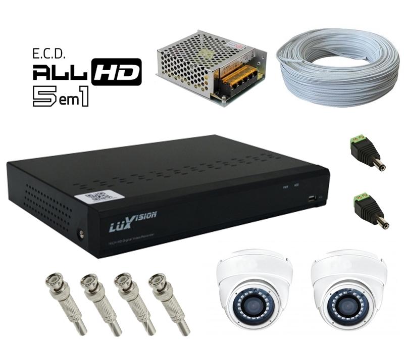 Kit DVR HVR All HD ECD 8 canais Luxvision + 2 Câmeras Dome Infra AHD 720p com Cabo, Fonte e Conectores