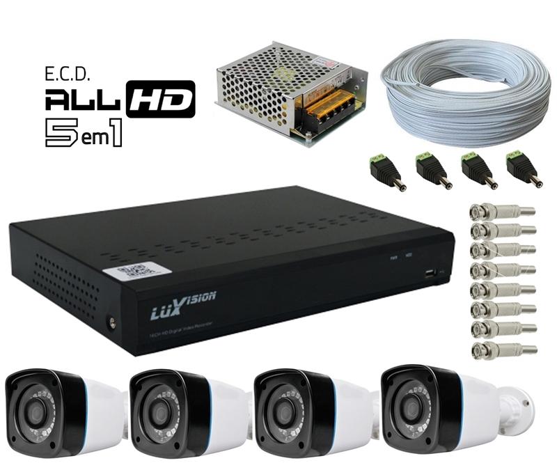 Kit DVR HVR All HD ECD 8 canais Luxvision + 4 Câmeras Infra Bullet AHD 720p com Cabo, Fonte e Conectores
