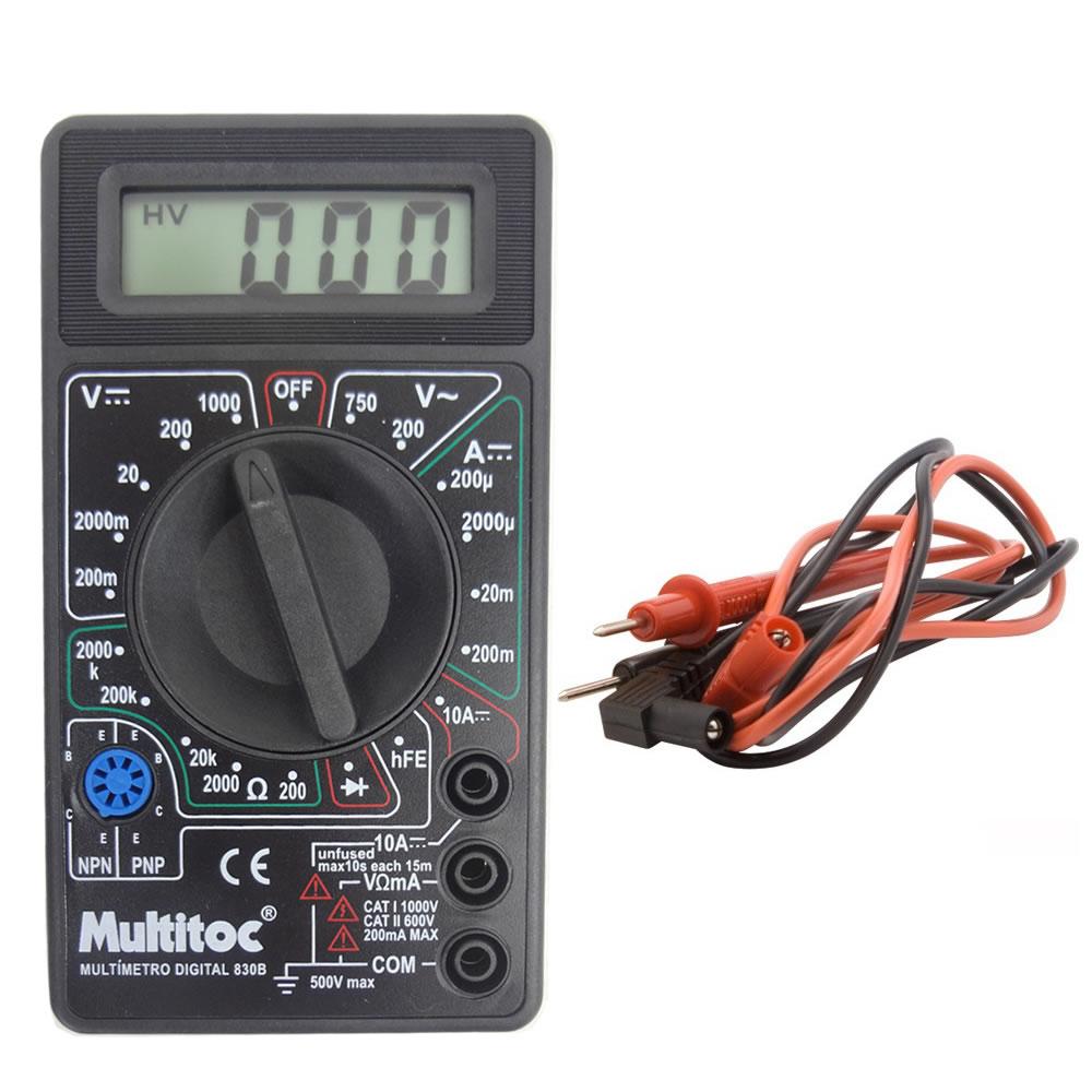 Multímetro Digital Portátil 830B Visor Lcd Medição Tensão Elétrica