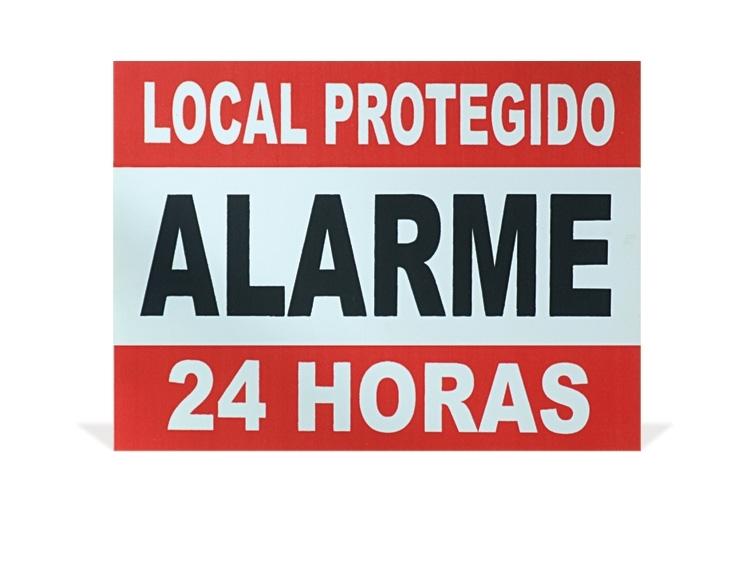 Placa de sinalização ''Local protegido alarme 24 horas''