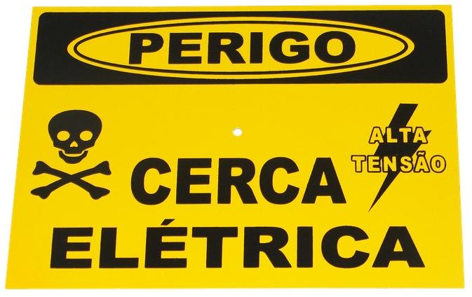 Placa de sinalização ''Perigo cerca elétrica''