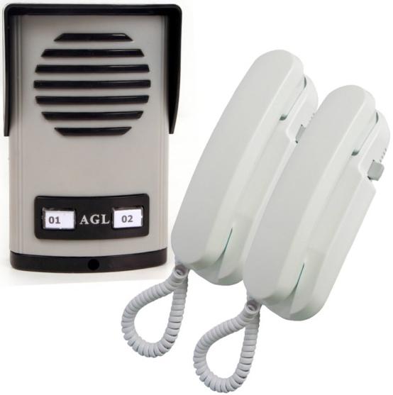 Porteiro eletrônico coletivo de 2 pontos com 2 monofones - AGL