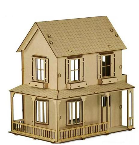 Casa Boneca em Mdf Polly, Barbie Pocket e Similres Modelo C2