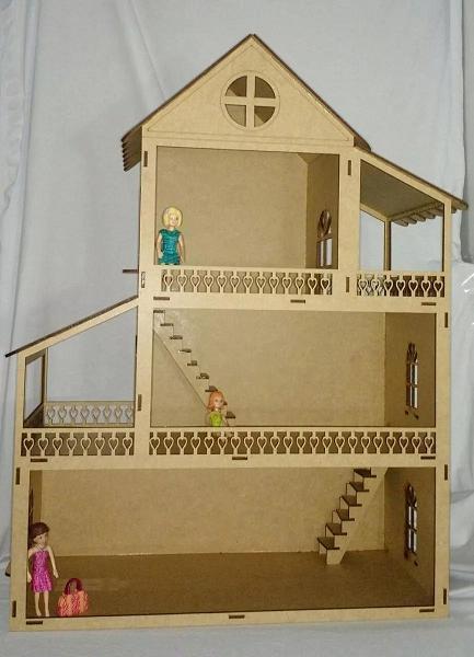 Casa  Boneca em Mdf  Polly, Barbie Pocket e Similres Modelo C7