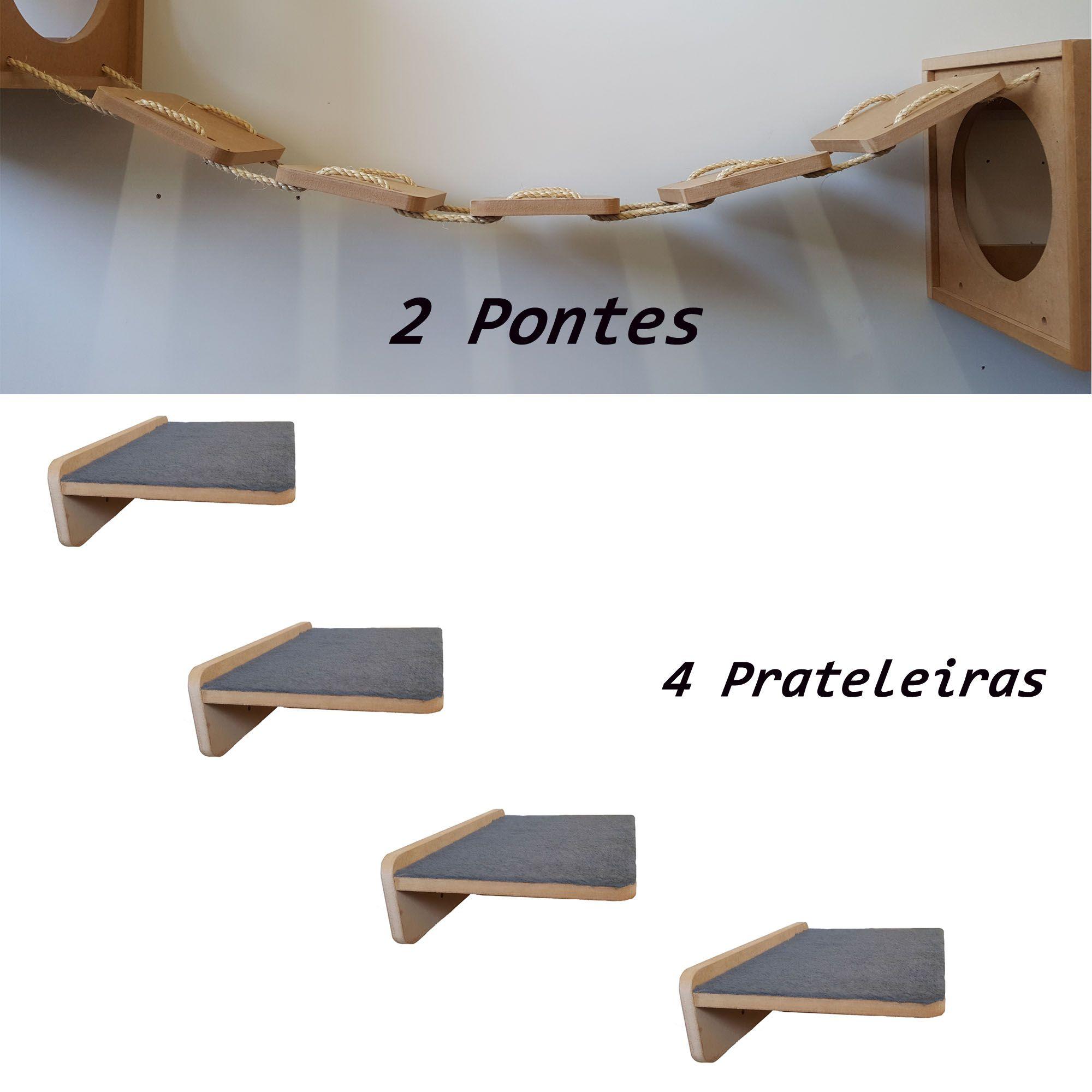 Kit 6 peças =  2 Pontes + 4 Prateleiras De Parede Para Gato - Pet Em Mdf 15mm