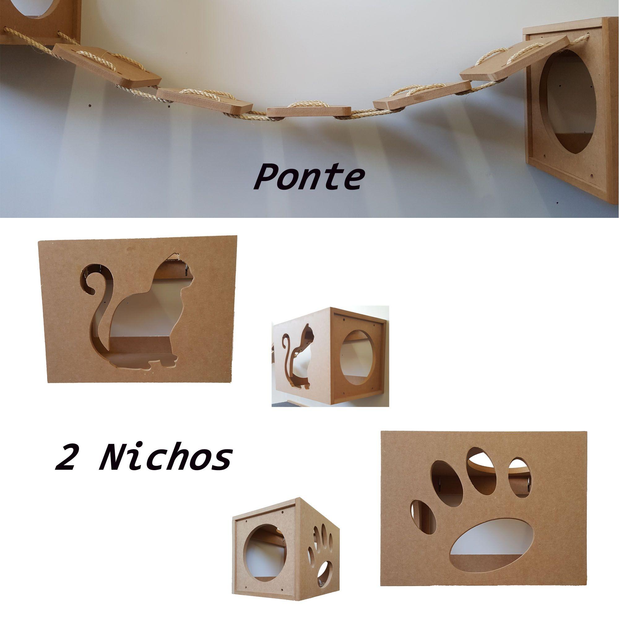 Kit Nicho para Gato - 3 peças = 2 Nichos + 1 Ponte Para Gatos, Pet Em Mdf 15mm