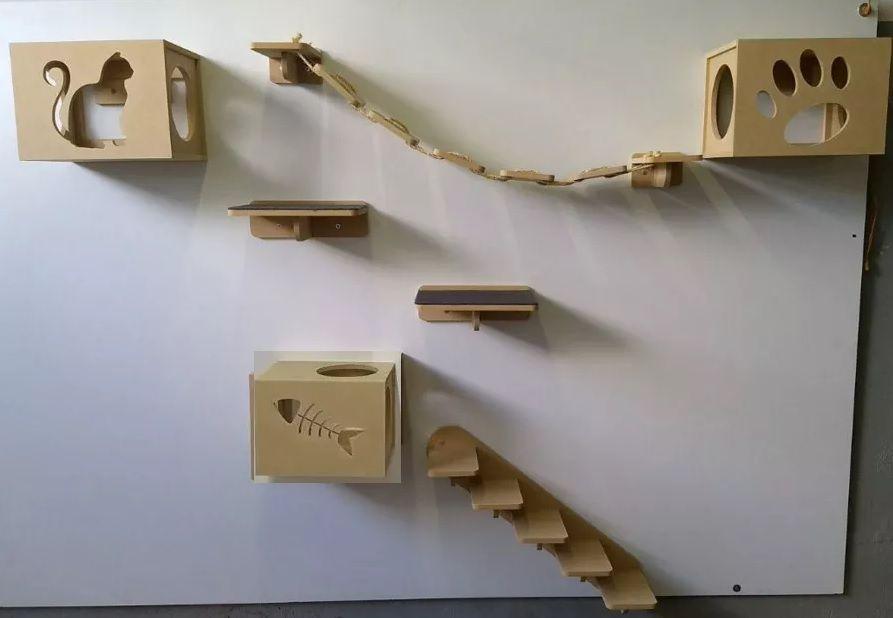 Kit Nicho para Gatos - 9 peças = 4 Nichos + 2 Prateleiras + 1 Escada + 2 Pontes Gato Mdf 15mm