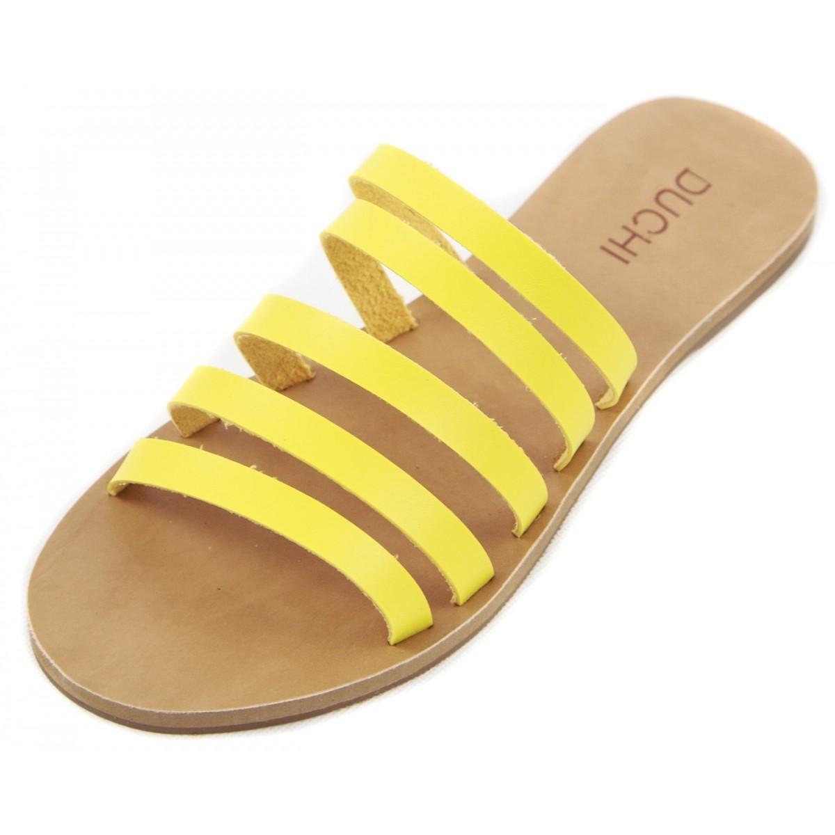 Rasteira Faixas  Amarelo