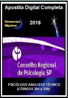Apostila CRP SP 2018 - PAT - PSICÓLOGO ANALISTA TÉCNICO (CÓDIGOS 301 a 320)