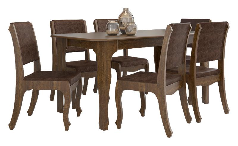 Mesa de Jantar com 6 Cadeiras Ônix Imbuia - RV Móveis