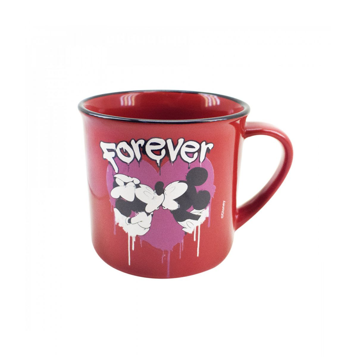 "CANECA DE PORCELANA VERMELHA MICKEY & MINNIE ""TRUE LOVE"" 280ML - DISNEY"