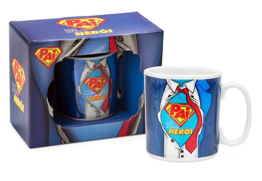 Caneca Porcelana Pai meu Grande Herói + Caixa Presente