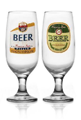 Conjunto 2 Taças Floripa Rótulos Cerveja Pilsen + Caixa Presente