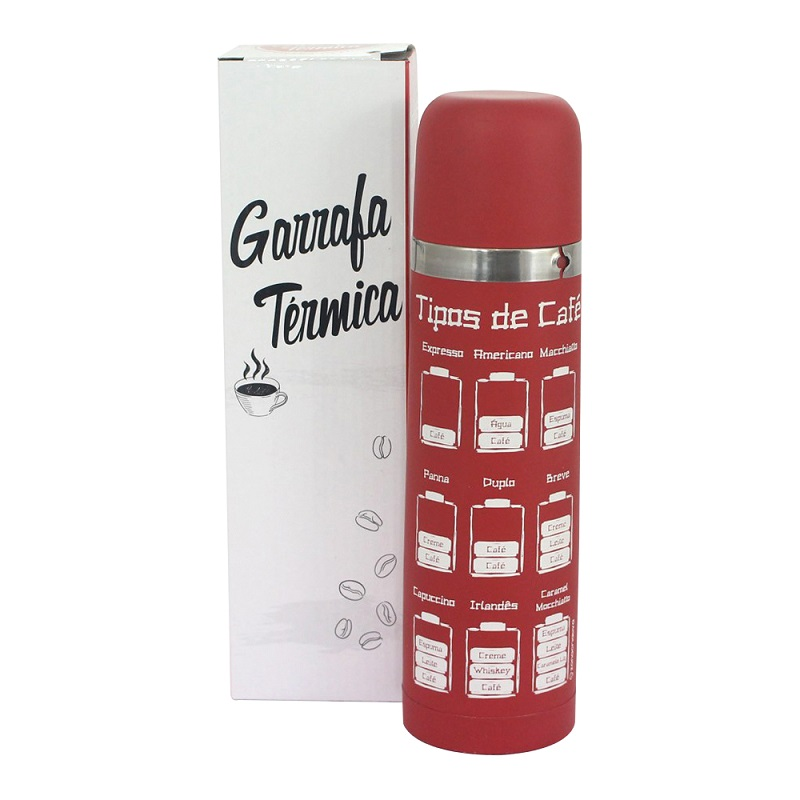 GARRAFA TÉRMICA ALUMINIO 500ML VERMELHA CAFÉ