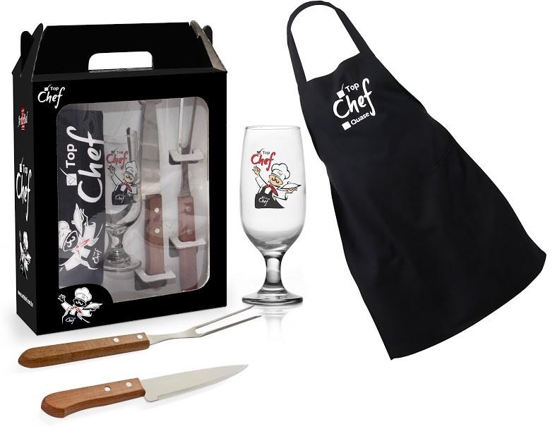 Kit Churrasco Top Chef 4 Peças + Caixa Presente