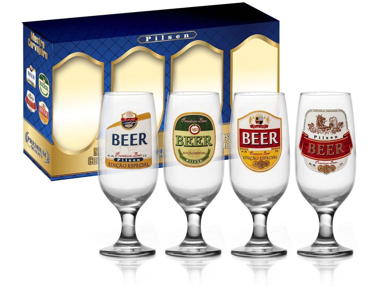 Maleta de 4 Taças Floripa Rótulos Cerveja Pilsen