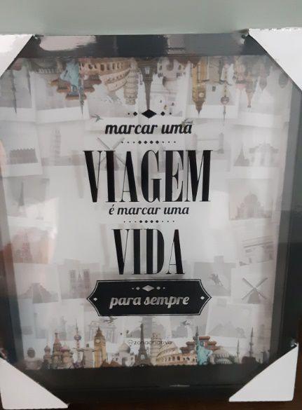 QUADRO DECORATIVO - MARCAR UMA VIAGEM É MARCAR UMA VIDA