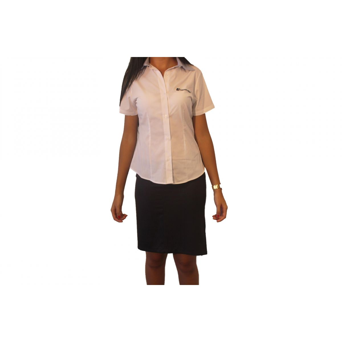 Camisa Social Feminina Manga Curta  - Uniformes Odontoclinic