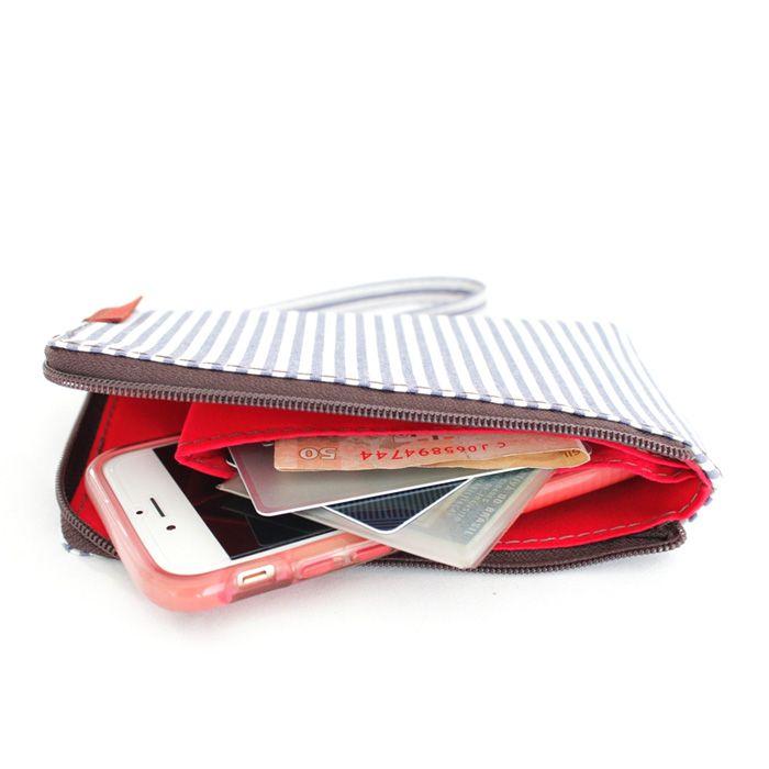 porta-celular MOBS | listras finas vermelho-branco