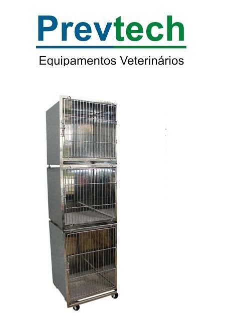 CANIL  INÓX PARA 3 ANIMAIS COM SUPORTE DE SORO E PRANCHETA