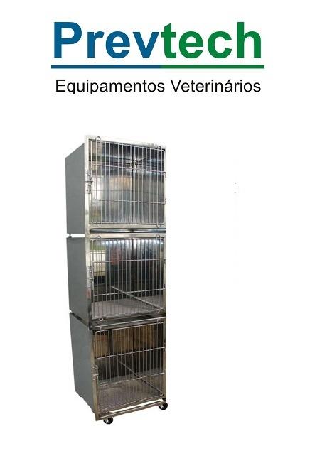GATIL EM AÇO INÓX PARA 3 ANIMAIS COM SUPORTE DE SORO E PRANCHETA