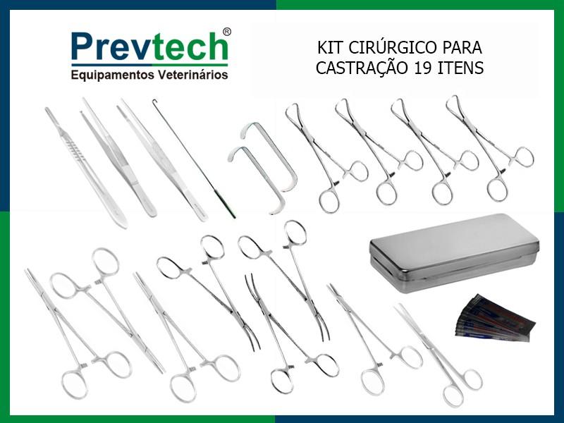 KIT CIRÚRGICO 19 ITENS P/ CASTRAÇÃO COMPLETO