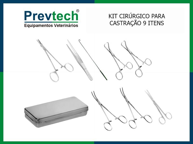 KIT CIRÚRGICO DE CASTRAÇÃO SIMPLES COM 9 ITENS