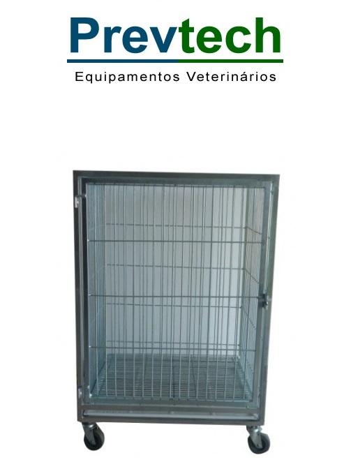 MODULO DE CANIL DE FERRO GRANDE PARA 1 ANIMAL COM SUPORTE DE SORO E PRANCHETA