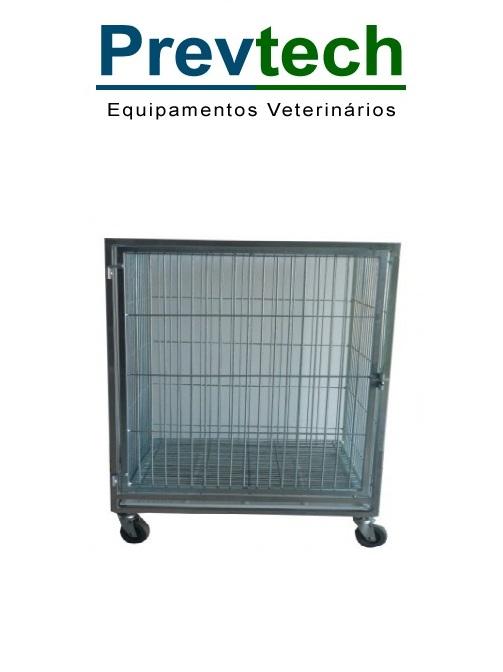 MÓDULO DE CANIL DE FERRO PEQUENO PARA 1 ANIMAL COM SUPORTE DE SORO E PRANCHETA