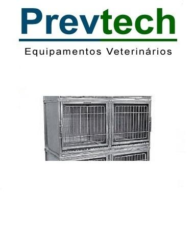 MODULO DE GATIL PEQUENO INOX PARA 2 ANIMAIS COM SUPORTE DE SORO E PRANCHETA