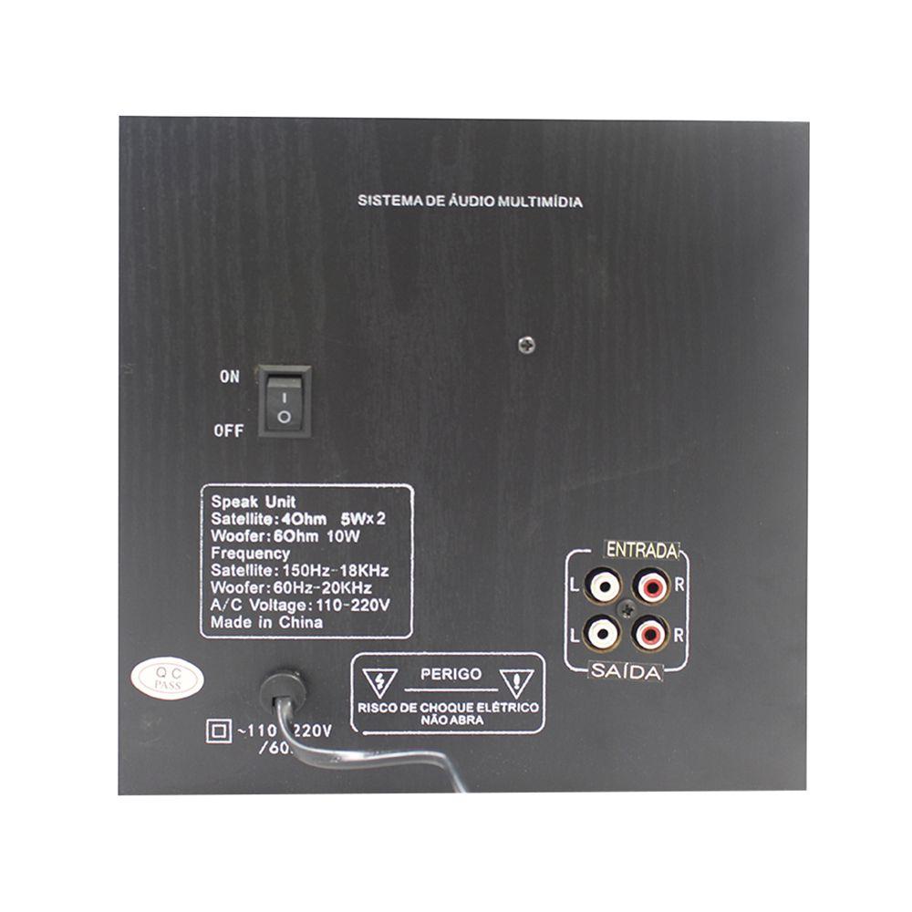 Caixa De Som 2.1 20W Sd/Fm/Usb Com Controle As W802 Hardline