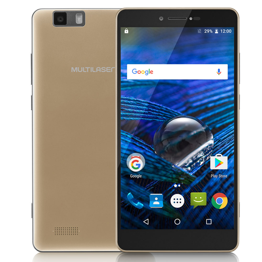 Celular Multilaser Ms70 Nb265 Oc|64Gb|3Gb|4G|16Mp|5.85 Full Hd Dourado