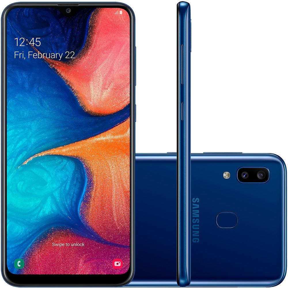 Celular Samsung Galaxy A20 Sm-A205G| Ds Oc| 32Gb| 3Gbram| 13Mp+5Mp| 6.4| Azul