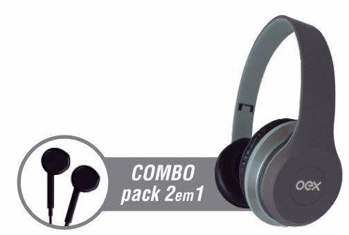 Fone De Ouvido + Headset Oex Hf100 Combo Twin Cinza