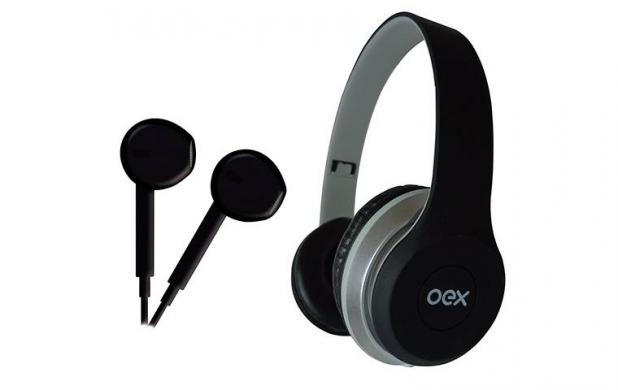 Fone De Ouvido + Headset Oex Hf100 Combo Twin  Preto