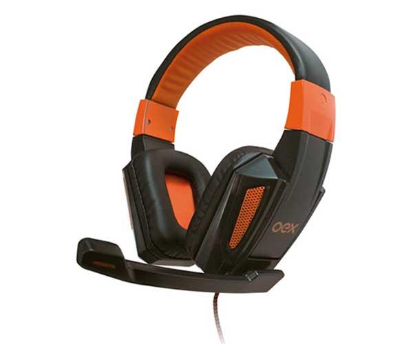 Fone De Ouvido Headset Oex Hs205 Combat Preto E Laranja