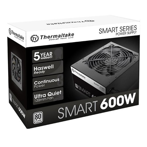 Fonte Atx 600W Reais Thermaltake Smart Atx2.3 80+White